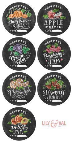 Free Hand-Drawn Chalk Art Jam labels and Pumpkin recipe by @lilyandval