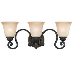 Buy the Craftmade Aged Bronze with Gold Direct. Shop for the Craftmade Aged Bronze with Gold Josephine 3 Light Bathroom Vanity Light - Inches Wide and save. Bathroom Wall Lights, Bathroom Light Fixtures, Bathroom Vanity Lighting, Glass Vanity, Chandelier Shades, Glass Shades, Candle Sconces, Bulb, Bronze