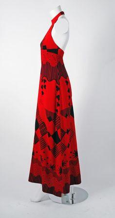 1970's Ossie Clark For Radley Black & Red Celia Birtwell Print Crepe Halter Dress image 2