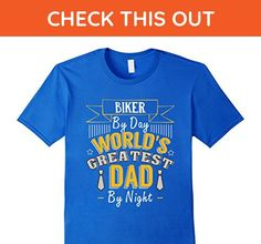 Mens Biker By Day World's Greatest Dad By Night T Shirt XL Royal Blue - Relatives and family shirts (*Amazon Partner-Link)