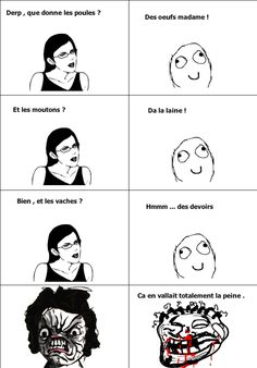 Que donnent les vaches? Rage Comics, Funny Comics, Funny Images, Funny Pictures, Troll Meme, Rage Faces, Memes, Image Fun, Funny Facts