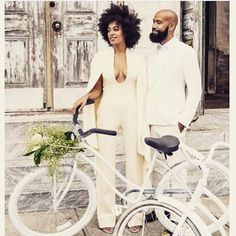 JUMPSUIT I will never forget when I first saw Solanges wedding pics this jumpsuit and cape completely changed the game. We love how elegant and modern she looks and Alans suit complements her perfect! Solange Knowles, Dita Von Teese, Carrie Bradshaw, Wedding Pics, Wedding Day, Wedding Dresses, Bridal Beauty, Wedding Beauty, Solange Wedding