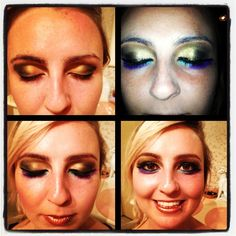 !Getting creative! Smokey browns, black, blended with gold and thick black liquid eyeliner on top lid. Under eyes, vibrant blue and purple with thinner line of black liquid eye liner, volumising mascara, and bronzed lip stick.