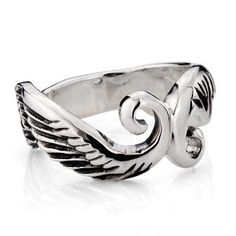925 Sterling Silver Gothic Warrior Wings Crown Antique Tail Ring Gift for Men