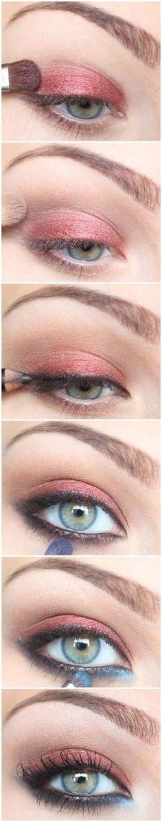 Red eyeshadow tutorial