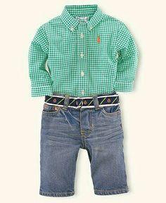 56a354e8 Ralph Lauren Baby Set ♡ƒυтυґ℮ ♭ ♭◎γ ¢◎◎к♡ Boys Denim Pant Layette Set