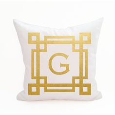 Monogram Pillow Cover - Double Chinoise Border