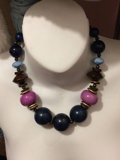 Vintage Blues and Purples Large Beaded Choker /Necklace