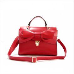 Sweet Bowknot Flap PU Woman Handbag Messenger Bag Red (Item number: 213, End Time : Feb. 23, 2015 12:41:24) - 2haifa.com