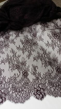 Dark violet Lace Fabric by the yard French Lace by LaceToLove