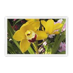 #floral - #Yellow Boat Orchid Floral Serving Tray