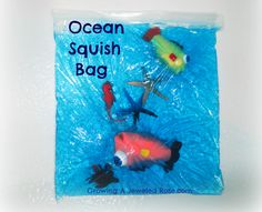 Growing A Jeweled Rose: Fun with Sensory Bags (hair gel, blue food coloring and ocean toys)