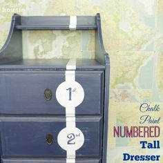 Chalk Paint Numbered Tall Dresser Nautical Boys Bedroom at The Happy Housie finished label