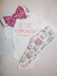 Baby Girl Cupcake Leggings, Onesie & Headband by knotsandthreads1 on Etsy https://www.etsy.com/listing/267811232/baby-girl-cupcake-leggings-onesie