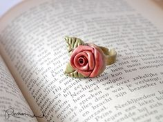 Pink Rose Ring Flower Rose Jewelry, Vintage Look Rose Ring Floral Ring Polymer Clay, Adjustable ring, Wedding Gift for Her, Bridesmaids gift - pinned by pin4etsy.com