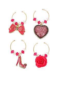 Betsey Johnson Shoe & Flower Wine Glass Charm Set in a Betsey Johnson Gift Box #belk #accessories