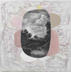 Notes37 ( presenting a landscape as a certain state of mind - Sue Williams A'Court ) Using central graphite image to indicate contract between surface reality and dream-like place beyond.