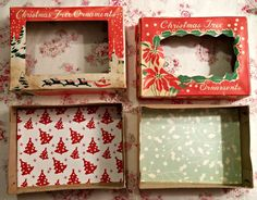 Vintage Ornament Box Dioramas - Little Vintage Cottage Mr Christmas, Christmas Card Crafts, Christmas Frames, Vintage Christmas Ornaments, Christmas Decorations To Make, Holiday Crafts, Christmas Mantles, Victorian Christmas, Christmas Ideas