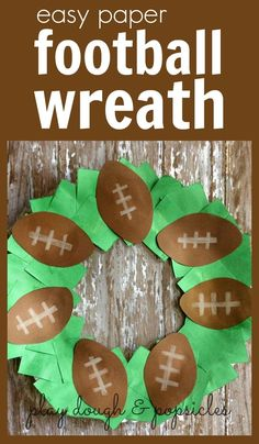 Easy Paper Football Wreath Craft For Kids. Excellent Superbowl or Preschool…