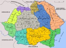 A map of Greater Romania between 1920 and 1940.