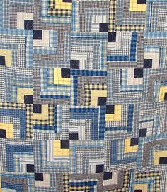 Memory quilt made from men's shirts. Check out this memory quilt and others that… Man Quilt, Boy Quilts, Scrappy Quilts, Shirt Quilts, Denim Quilts, Plaid Quilt, Striped Quilt, Recycled Shirts, Recycled Clothing