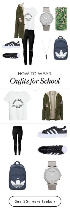 """back to school"" by annakunkeler on Polyvore featuring MANGO, Topshop, Karen Kane, Larsson & Jennings, Casetify, adidas, adidas Originals, women's clothing, women and female"