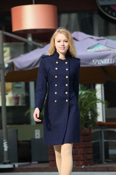 On Sale Size XS Navy Blue Coat Army Style Double by Sophiaclothing
