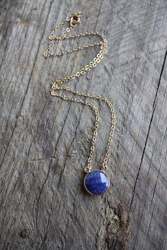 Gold Bezel Set Blue Sapphire Stone Necklace by JESDesignStudio