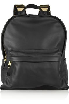 Sophie Hulme/Embellished leather and brass backpack -- Sleek, luxe take on staple carry-all? My kind of deal