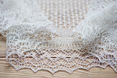 Hand knit shetland lace white silk amd merino by FastMelodicShawls