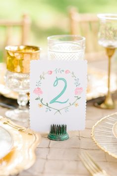 Watercolor Table Numbers by Leveret Paperie - Edwardian Wedding Inspiration
