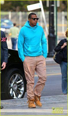 Jay  Z...lovin' the bright hoodie