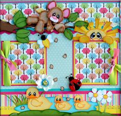 Elite4u Premade Scrapbook Layout A day at the Park, Boy Girl Page, Paper Piecing