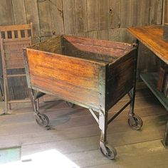 Vintage Industrial Wooden Foundry Cart by IndustrialArtifact, $399.00