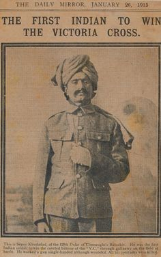 Rare Newspapers - Rare edition of The Daily Mirror January 26, 1915 Sepoy Khudada, the first Indian to win the Victoria Cross - Old and rare newspapers about Pakistan and India