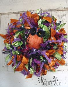 Halloween Ribbon Wreath Tutorial - Trendy Tree Blog  Video and written tutorial with supply list!  #TrendyTree