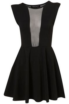 Petite Mesh Insert Skater Dress - Dresses - Going Out - Collections on Wanelo