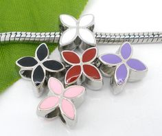 Enamel 4 Petals Flower Charms Beads. Fits by CharmingTreasures2, $1.00