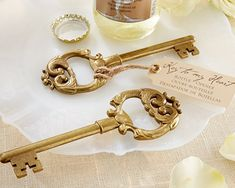 "An elegant and useful favor - 96 Gold ""Key to My Heart"" Antique Bottle Opener Wedding Favors by Kate Aspen, style Wedding Favours Bottles, Vintage Wedding Favors, Wedding Party Favors, Bridal Shower Favors, Wedding Ideas, Wedding Stuff, Wedding Tokens, Wedding Gifts, Wedding Planning"