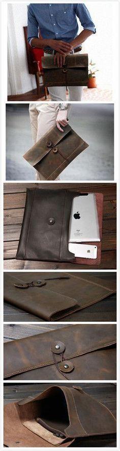 Idée et inspiration Accessoires pour homme tendance 2017   Image   Description   vintage handmade genuine crazy horse leather business envelope bag