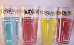 vintage glasses set of four 1970s mod colours by beautyfound, $45.00