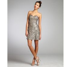 Wyatt silver and gold sequin silk strapless cocktail dress.... Just bought this little number!