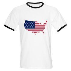 Flag Map of the USA Ringer T