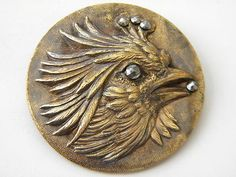 Antique Vintage Brass Metal Picture Button Cut Steel Old Picture Large Rooster | eBay