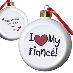 Personalised I love My Fiance Flat Bauble  from Personalised Gifts Shop - ONLY £9.99