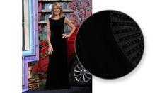 LAUNDRY Black stretch velvet gown w/black velvet ribbon and rhinestone insets on sides,  round neckline, sleeveless, skirt slit on left side  | Vanna White's dresses | Wheel of Fortune