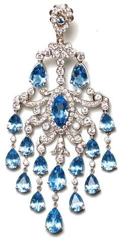Daniella Kronfle Blue Topaz chandelier ear pendant