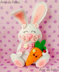 Fofuchas Eva and Co. = Easter bunny rabbit felt design stuffed soft toy craft idea project child pushie holiday spring season