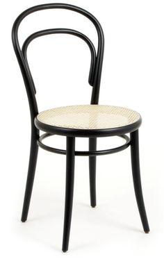 Köp - 1390 kr! Stol Thornet No14 - Rottingsits. Svartlackad stol Thornet No 14 med beige handgjord rotting sits!