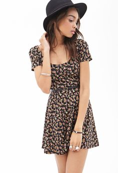 Rose Print Skater Dress #SummerForever